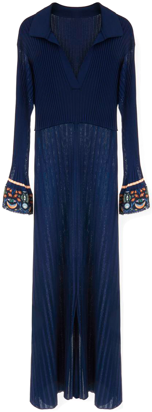 CHLOÉ long navy collar dress