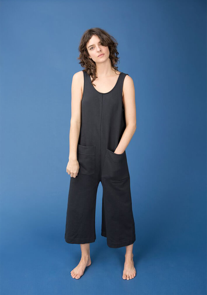Model wearing Ilana Kohn Terry Milo Jumpsuit