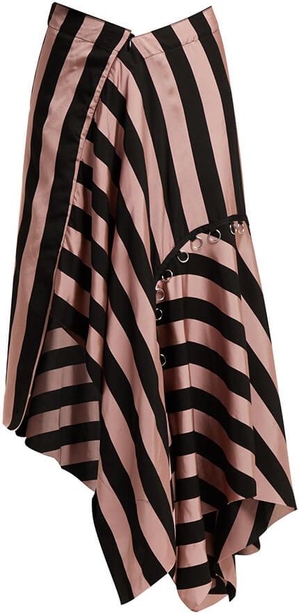 MARQUES' ALMEIDA pink+black striped skirt