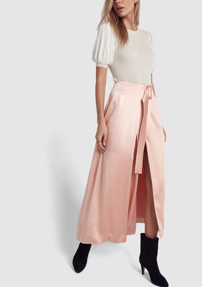 REJINA PYO pink satin Skirt goop