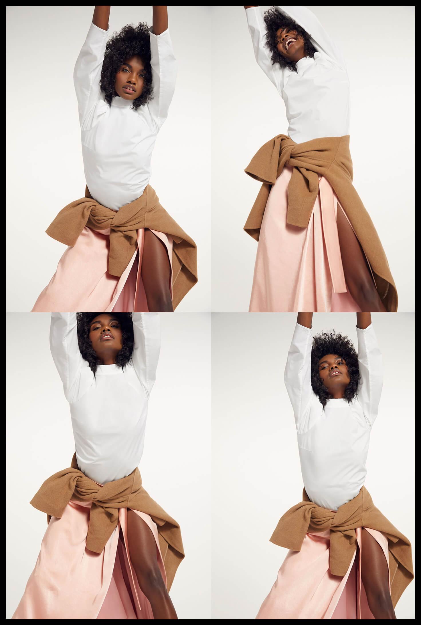 Model wearing goop REJINA PYO blouse
