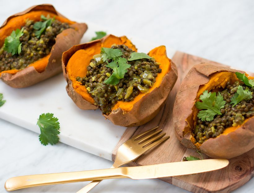 Indian Spiced Black Dhal-Stuffed Sweet Potatoes