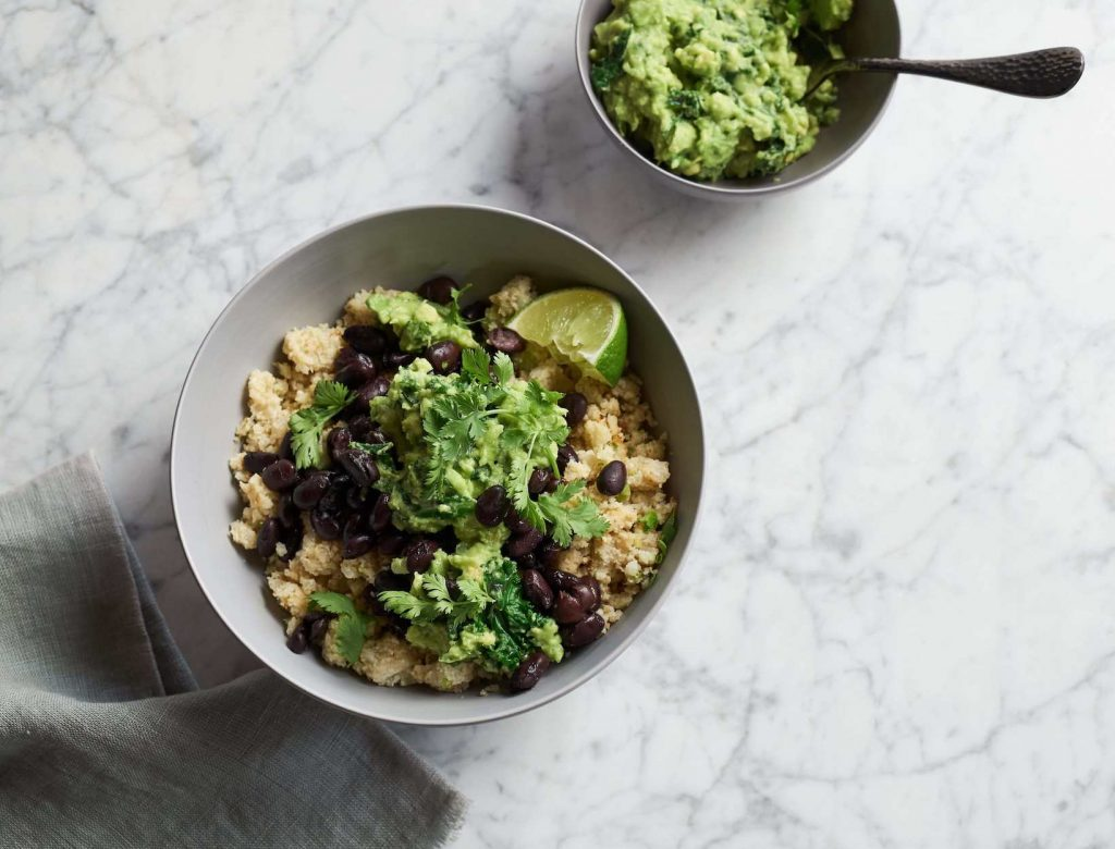 Cauliflower Black Bean Bowl with Kale Guacamole
