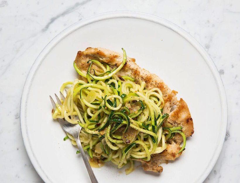 Chicken Paillard with Zucchini Noodles