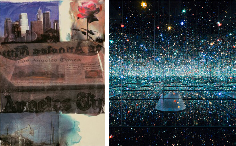 Collage featuring art by Rauschenberg and Kusama