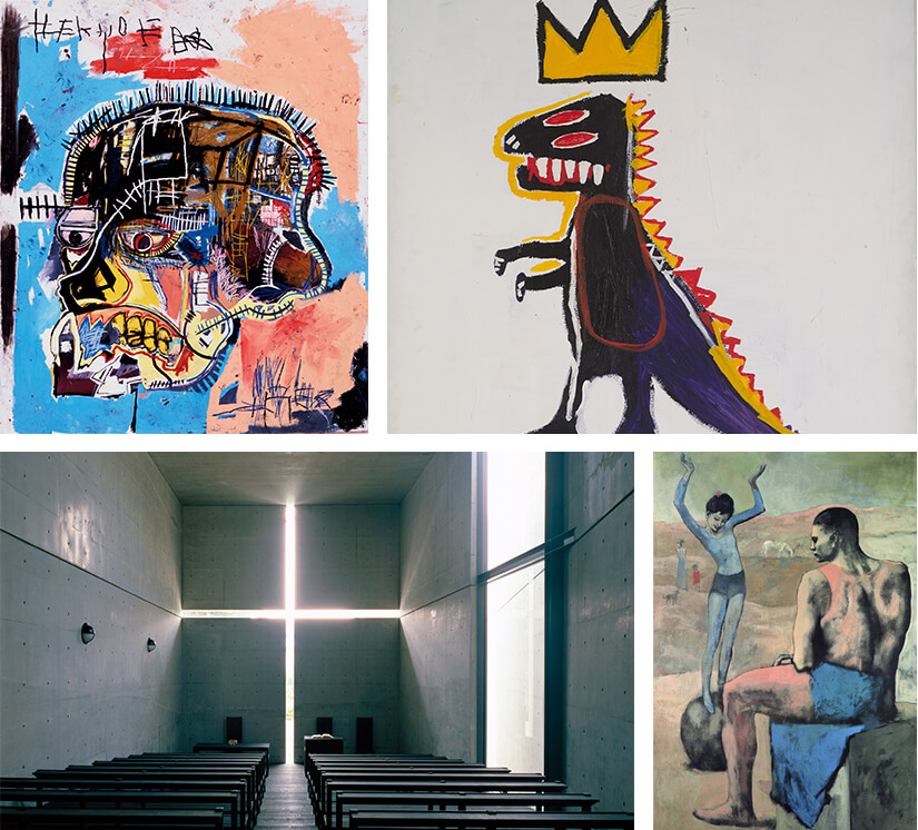 Collage featuring art from Basquiat and Picasso
