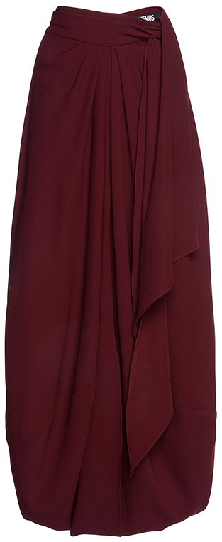 JACQUEMUS dark red draped skirt