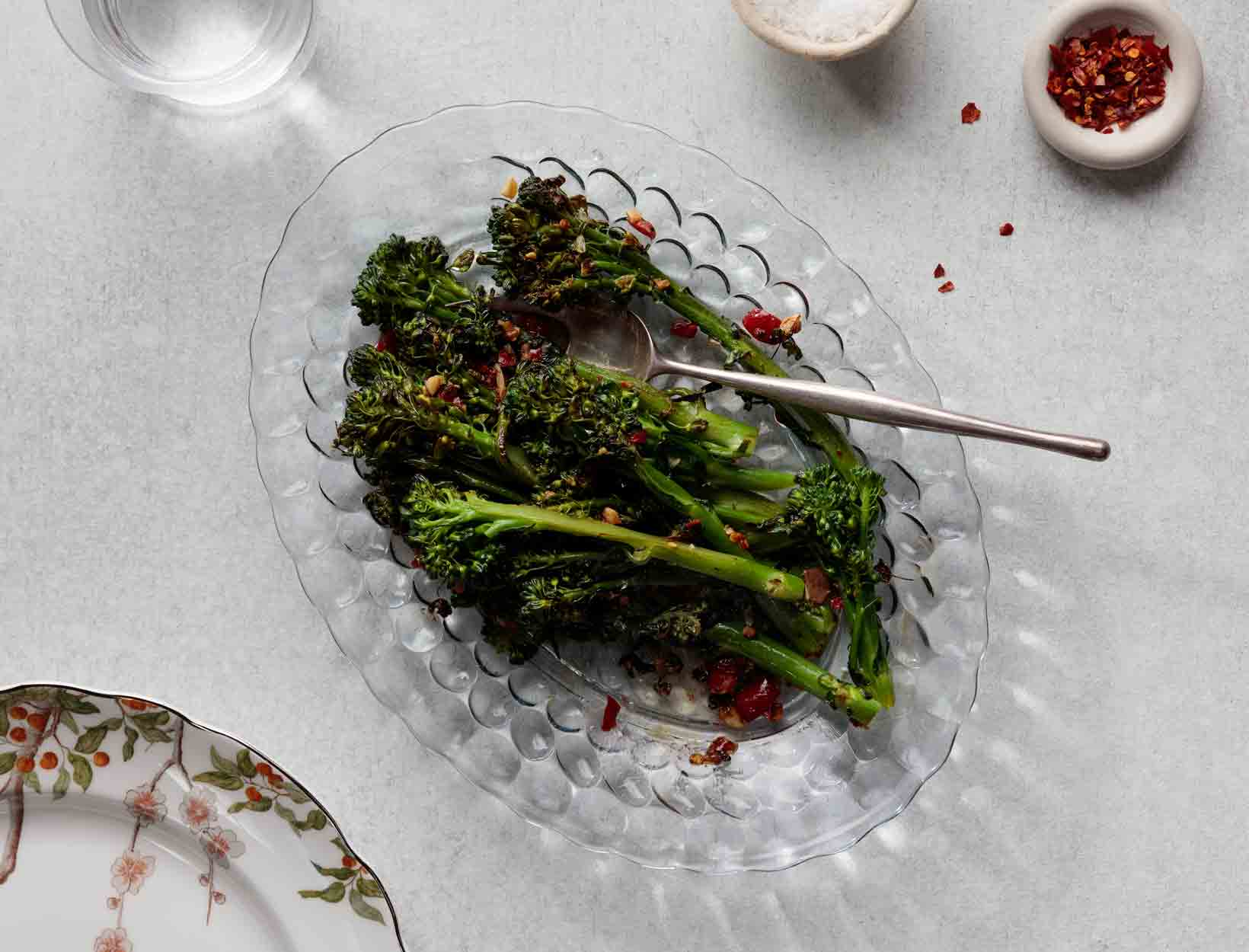 Broccolini with Garlic, Anchovies, and Hot Cherry Peppers