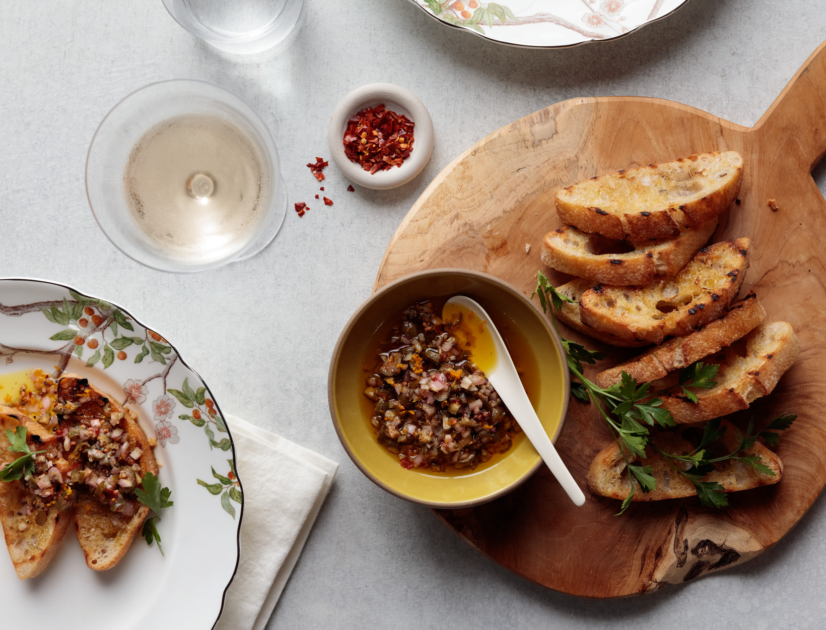 Grilled Ciabatta with Caperberry Relish