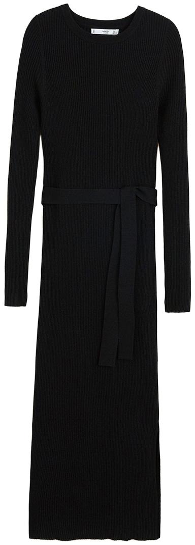 Mango Long Black Knit Dress