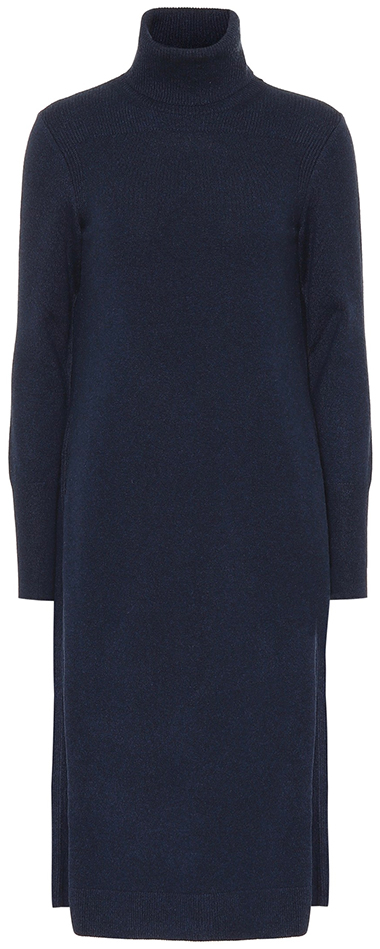 LORO PIANA navy turtleneck dress