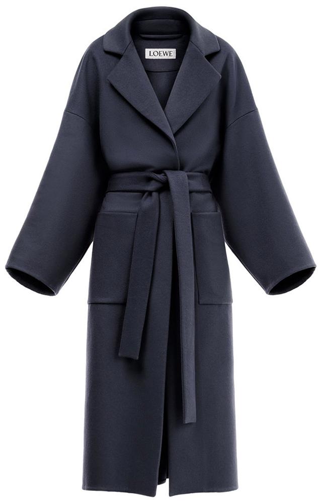 LOEWE navy wrap coat