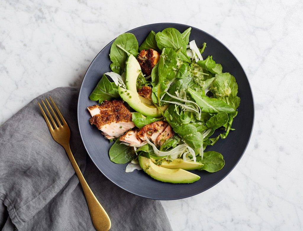 Arugula Salad with Fennel-Crusted Salmon and Avocado