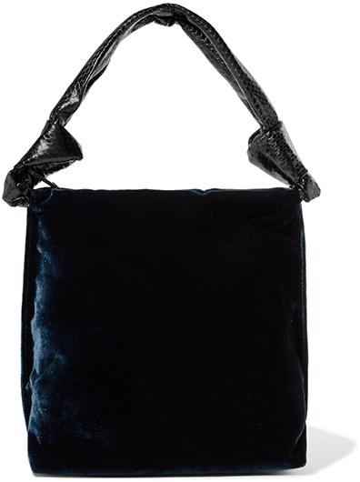 THE ROW navy velvet bag