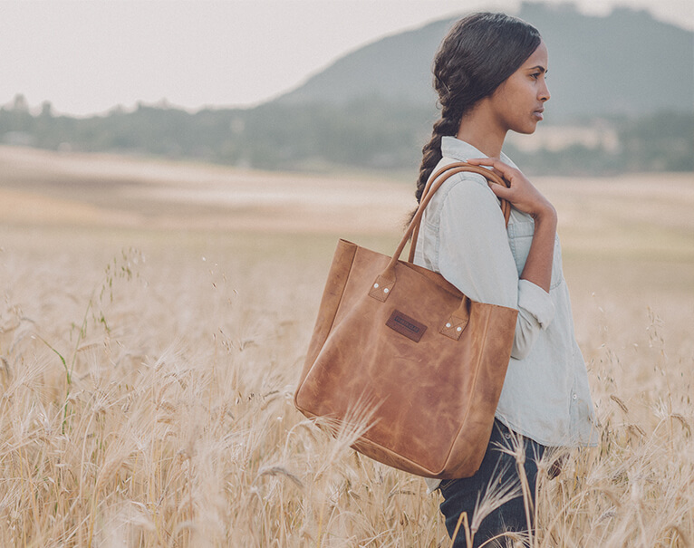 Model Wearing Parker Clay Bag