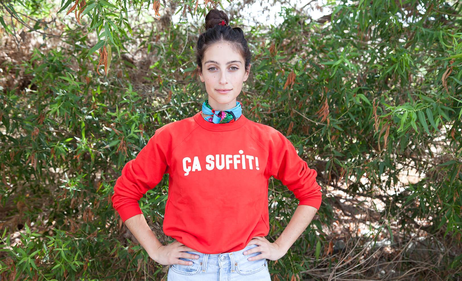 Model Wearing Clare V Sweatshirt