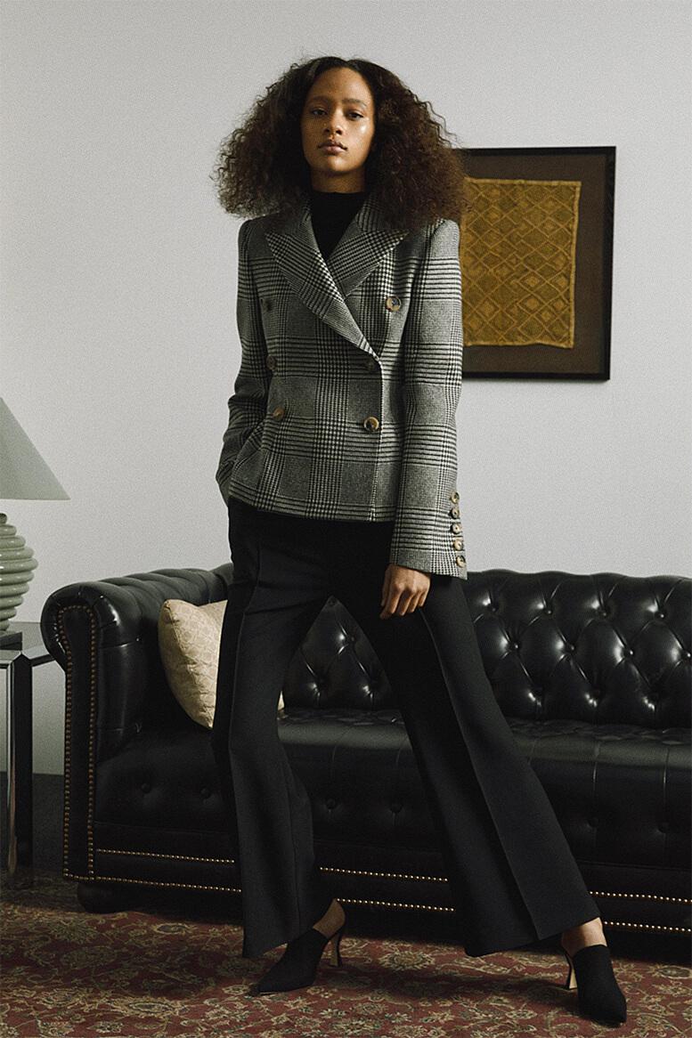 Model wearing blazer