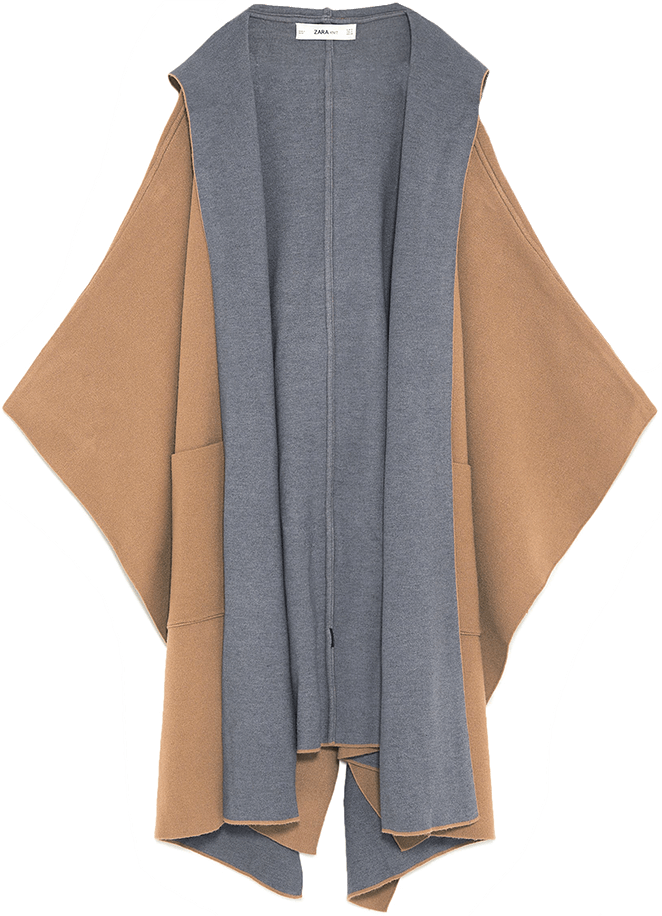 Zara camel+grey cape