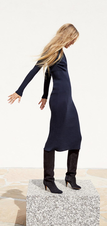 Model wearing a sweater dress