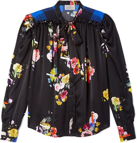PREEN BY THORNTON BREGAZZI Black Floral Blouse