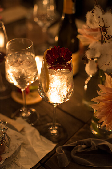 drinks in candle light
