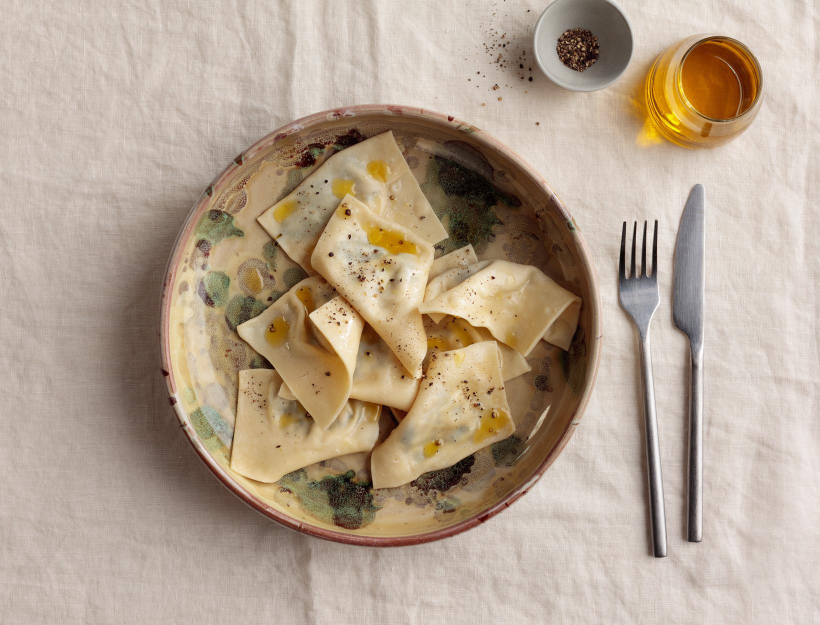 Mushroom, Greens, and Goat Cheese Ravioli