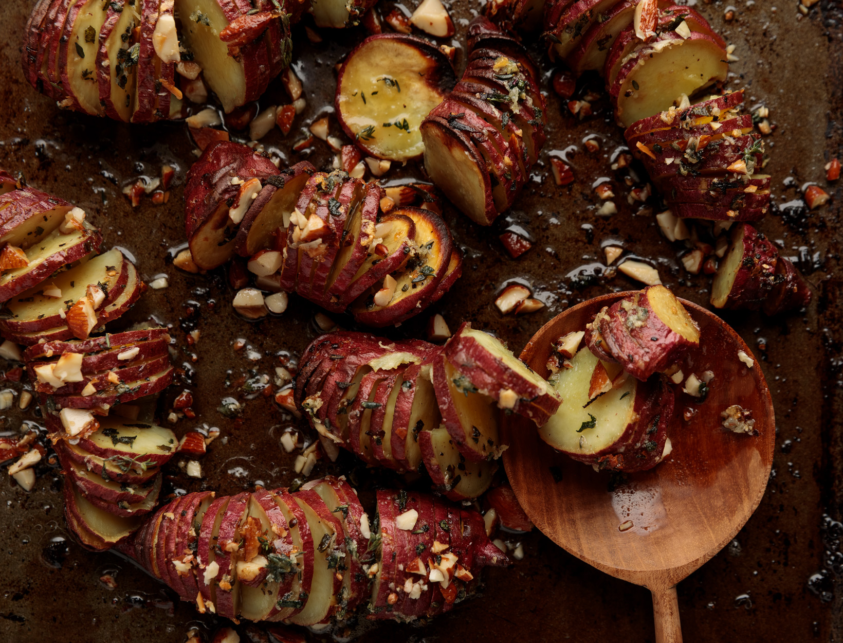 Hasselback Sweet Potatoes with Almonds