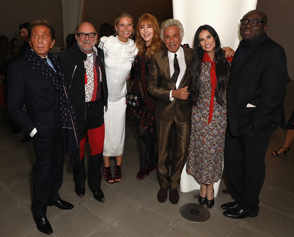 Mr. Valentino, Eric Buterbaugh, GP, Charlotte Tilbury, Giancarlo Giammetti, Demi Moore, and Edward Enninful.