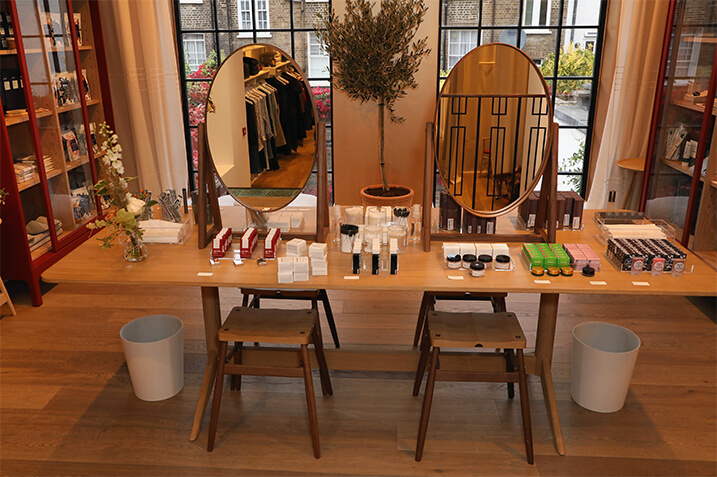 Our clean beauty vanity also doubled as a quick touch-up station.