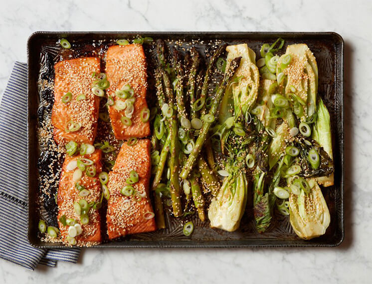 Salmon Asparagus Bok Choy Sheet Pan Dinner