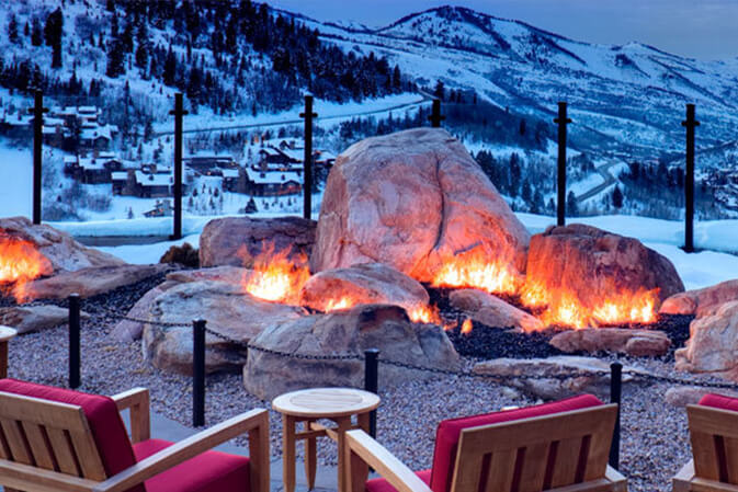 fire pit at a snow lodge