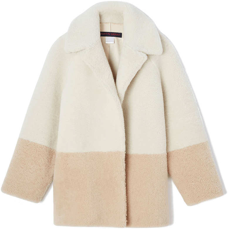 martin grant color block shearling jacket