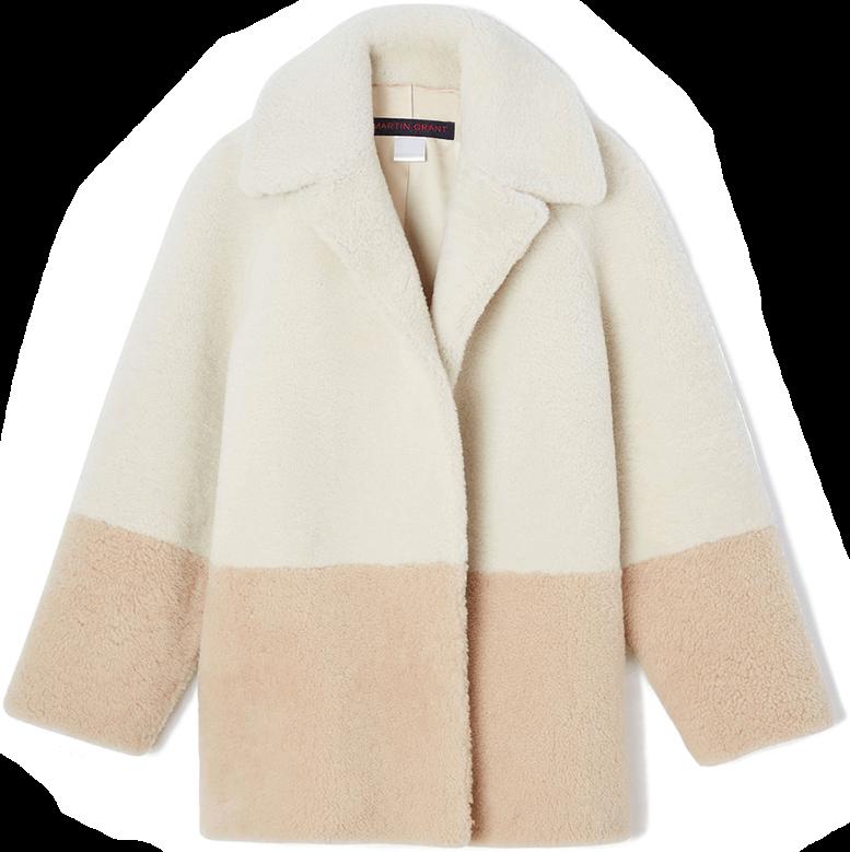 martin grant color block shearling jacket