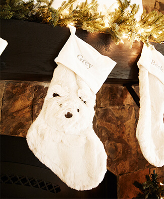 Kendra Scott white stocking with bear detail