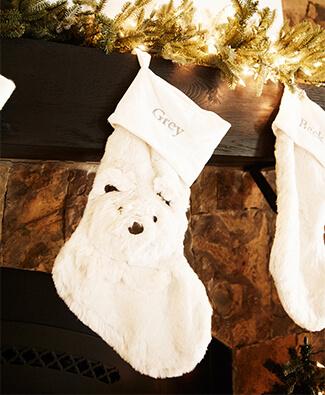Kendra Scott white stocking with bear detail