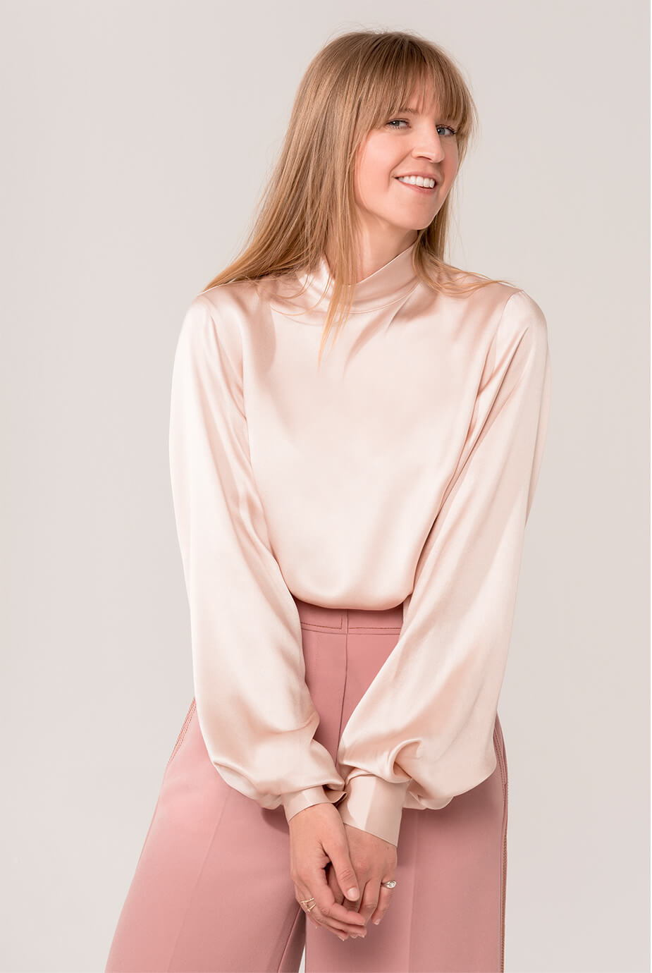 Parsons wearing pink Vince top and pink Roksanda Pants