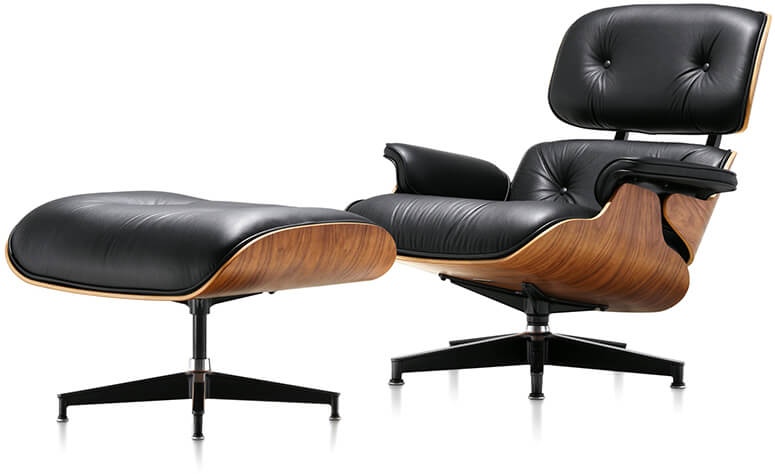 eames black lounge chair and ottoman