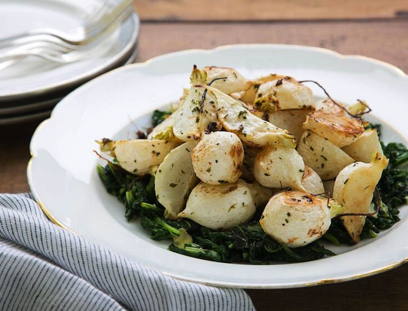 Brown Butter Roasted Turnips and Greens