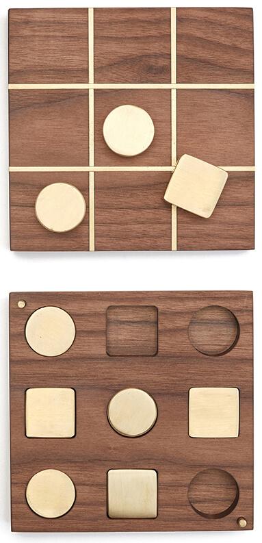 CHRIS EARL Walnut & Brass Tic-Tac-Toe Set