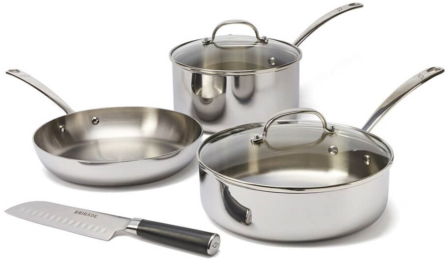 BRIGADE KITCHEN Stainless Steel Cookware 4 Piece Set