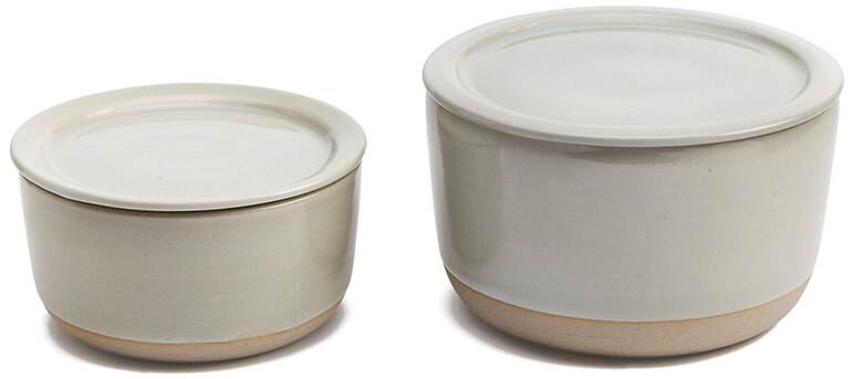 W/R/F Ceramic Lidded Containers, Set of 2