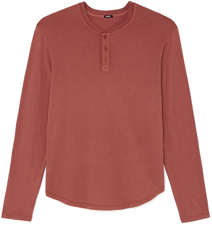 Monrow Men's Maroon LONG-SLEEVE Henley