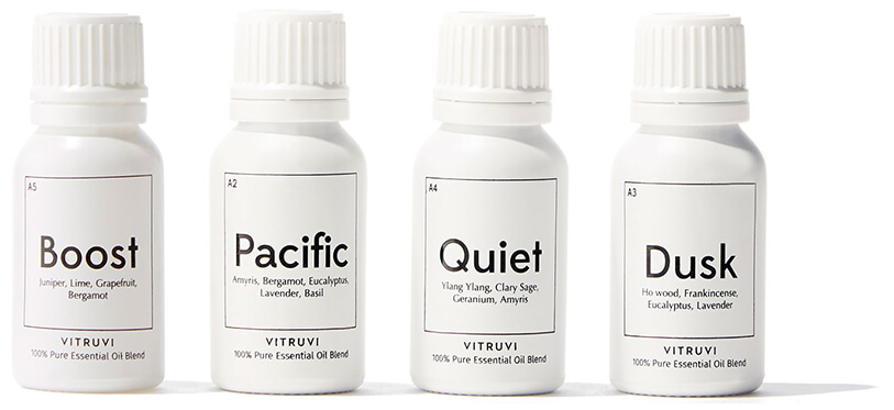 white essential oil bottles