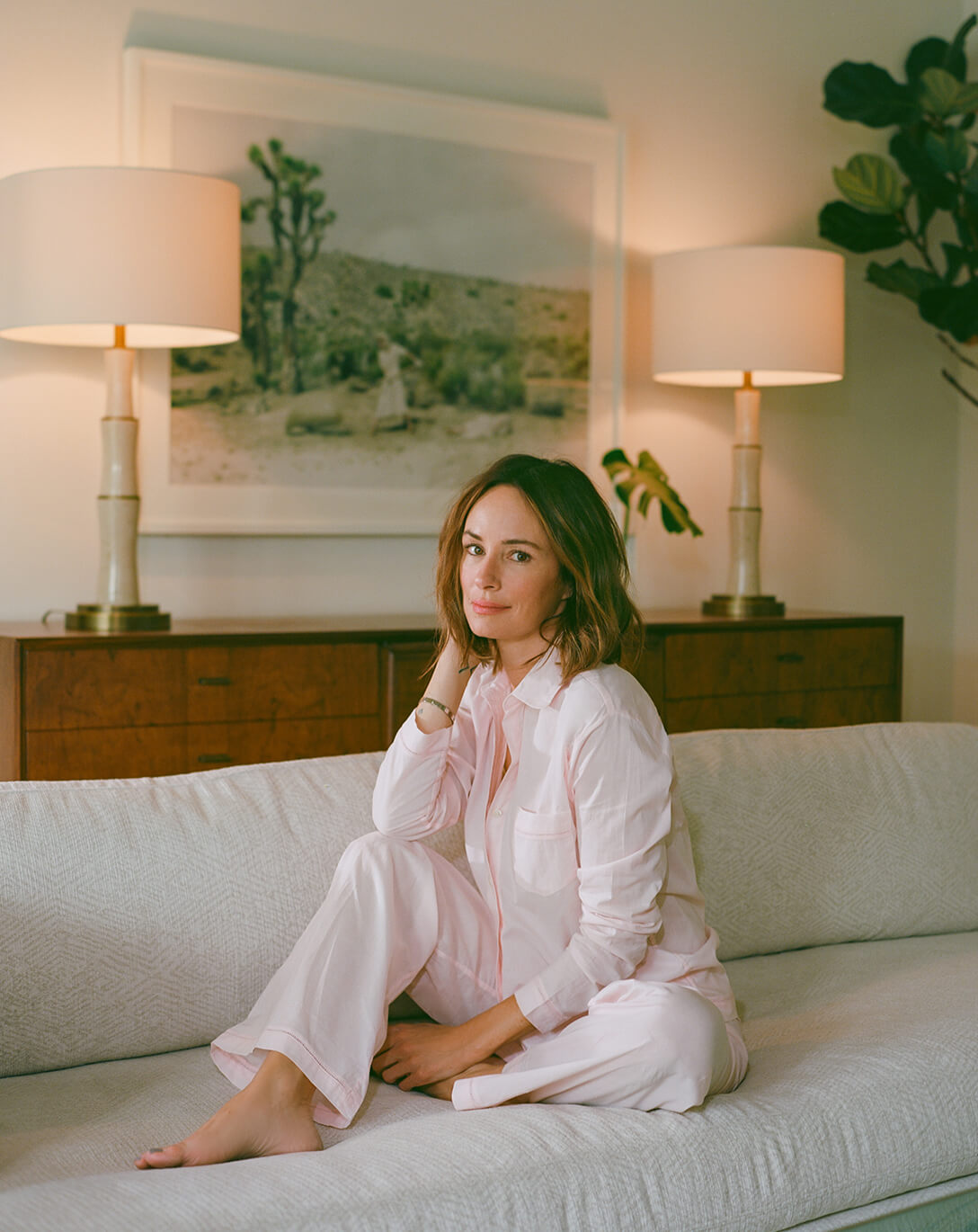 Catt Sadler in pink pajama set
