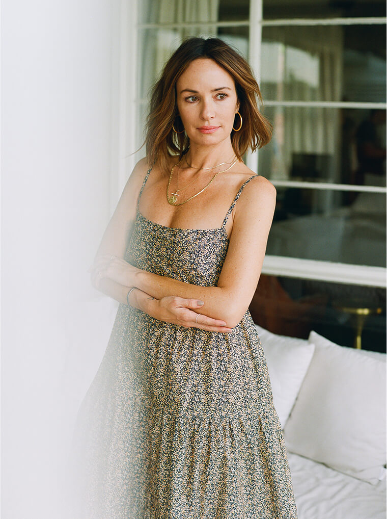 Catt Sadler in matteau dress