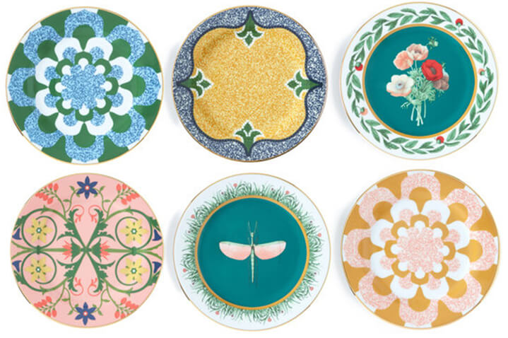 set of six patterned dessert plates