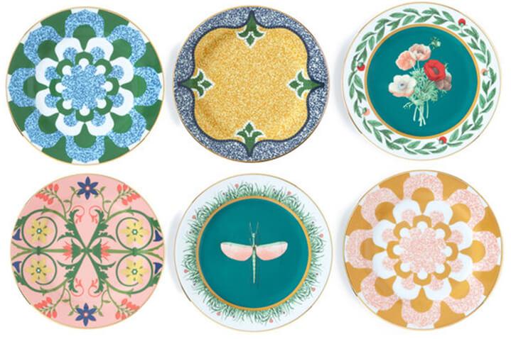 set of six patterned dessert plates