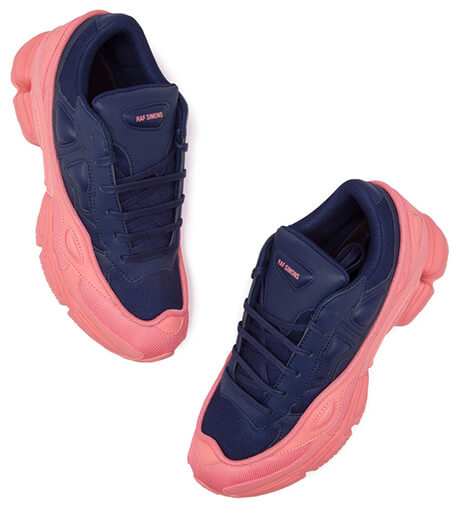 pink and blue adidas raf simons sneakers