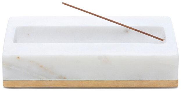 GOOP EXCLUSIVE MARBLE INCENSE BURNER WITH BRUSHED BRASS
