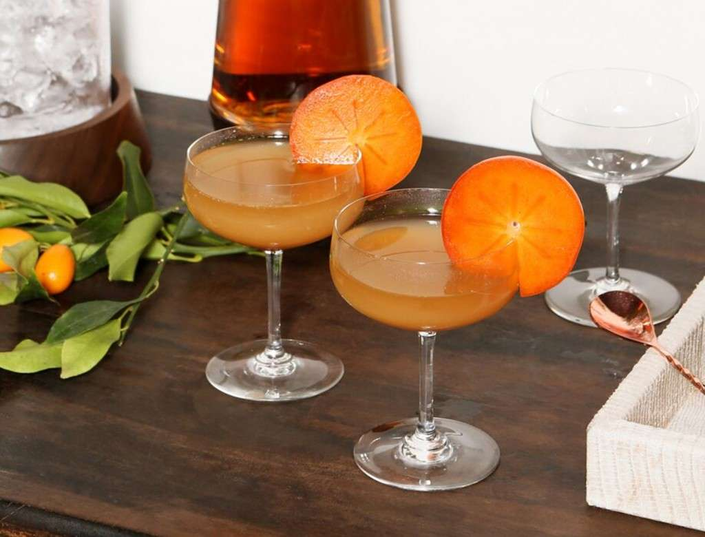 Spiced Persimmon Bourbon Cocktail